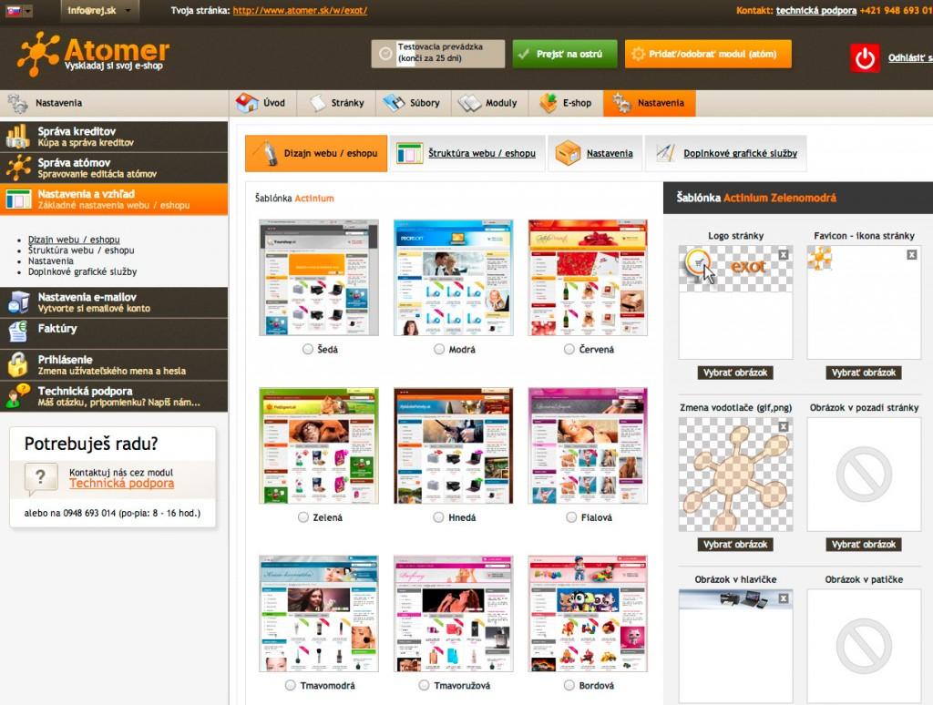 Široké možnosti nastavenia vzhľadu e-shopu